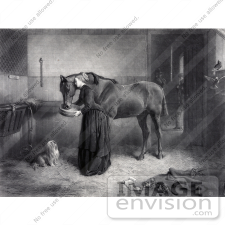 #41315 Stock Illustration of a Woman Reeding And Leaning Against A Horse While A Dog Watches And A Kitten Plays, A Man Standing In The Background by JVPD