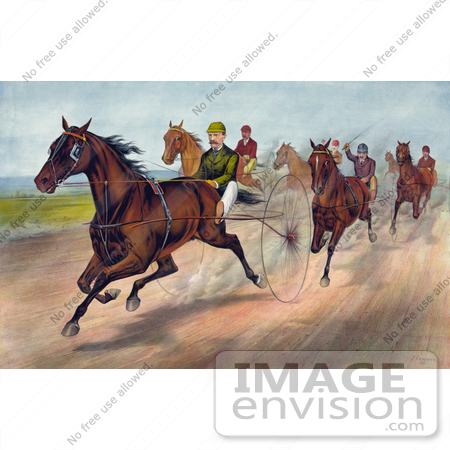 #41318 Stock Illustration of a Group Of Men Racing Horses With Dust Rising On The Track by JVPD
