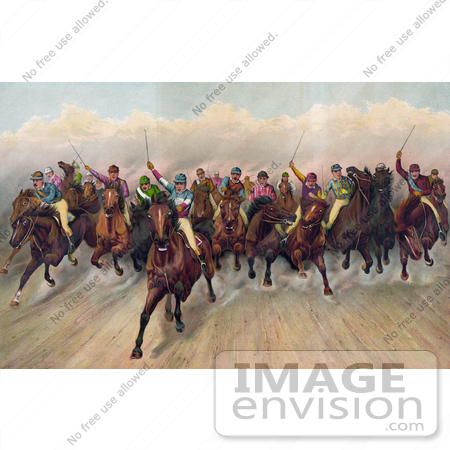 #41322 Stock Illustration of a Large Group Of 19 Competitive Jockeys Racing Forward by JVPD