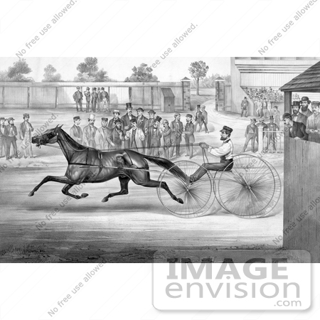 #41327 Stock Illustration of a Trotting Horse, John Stewart, On His Twentieth Mile, September 22nd 1868 by JVPD