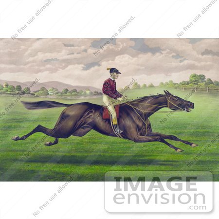 #41332 Stock Illustration of a Jockey Riding On The Back Of A Brown Gelding, Leaping Across A Grassy Field by JVPD