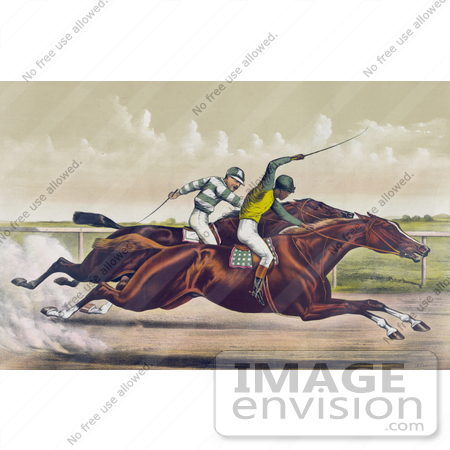 #41343 Stock Illustration of a Horse Race Between Salvator And Tenny At Sheepshead Bay, New York, June 25th 1890 by JVPD