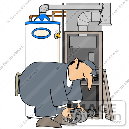 air conditioner repair clipart. #41348 clip art graphic of a man bending over while repairing furnace by djart air conditioner repair clipart