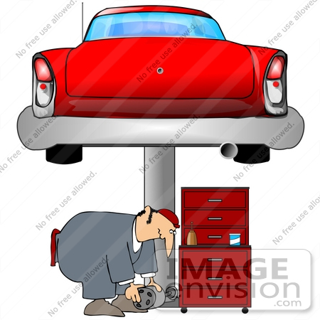#41349 Clip Art Graphic of a Man Bending Over While Working Under A Car In A Garage by DJArt