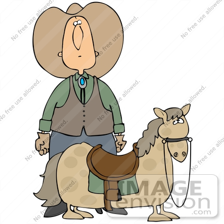 #41350 Clip Art Graphic of a Cowboy Standing Behind His Steed, Actually A Miniature Pony by DJArt