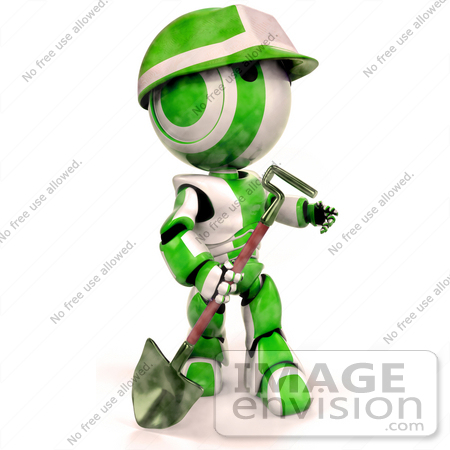 #41356 Clip Art Graphic of a 3d Green AO-Maru Robot Working In A Construction Zone With A Shovel by Jester Arts