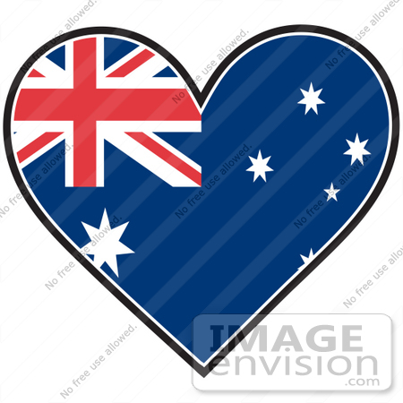 #41376 Clip Art Graphic of an Australia Heart Flag by Maria Bell