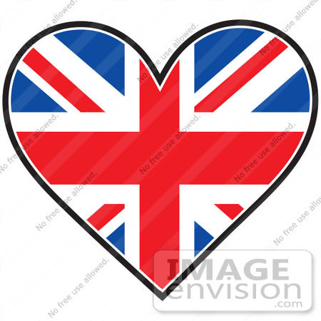 Clip Art Graphic of a Union Jack Heart Flag | #41378 by Maria Bell ...