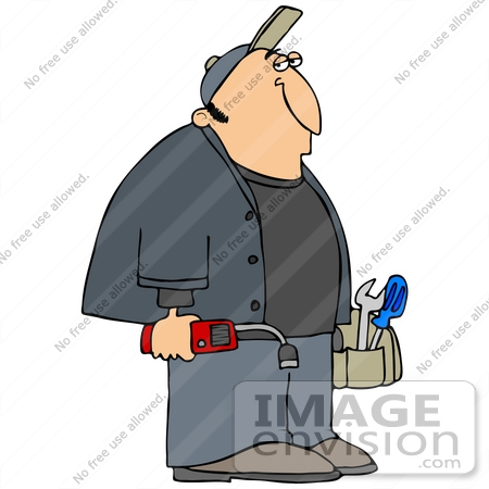 #41382 Clip Art Graphic of a Bored Gas Man Carrying His Tools by DJArt