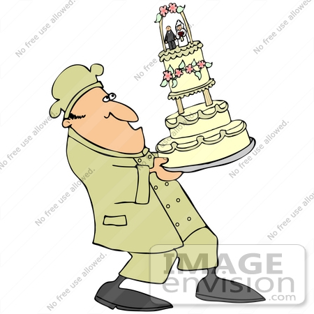 41387 Clip Art Graphic of a Chef Carefully Carrying A Tall Wedding Cake by
