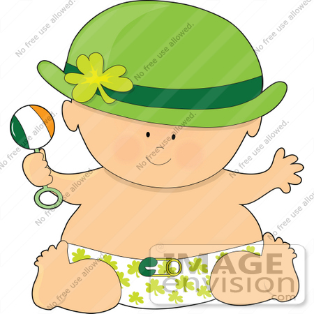 #41411 Clip Art Graphic of a St Patricks Day Baby by Maria Bell