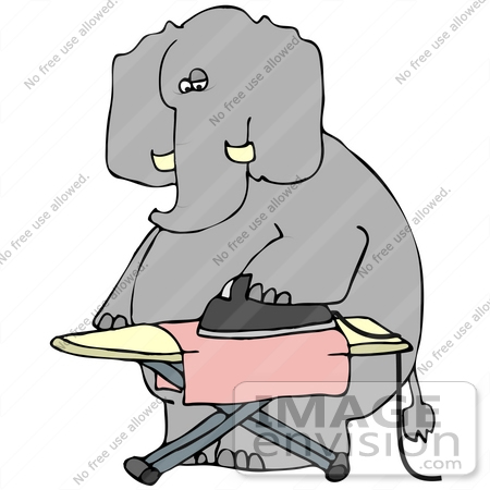 #41429 Clip Art Graphic of a Dry Cleaning Elephant Ironing A Cloth by DJArt