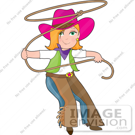 #41534 Clip Art Graphic of a Western Cowgirl In Chaps, Swinging A Lariat by Maria Bell