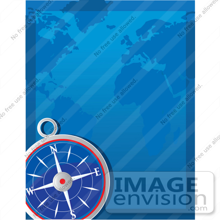 #41536 Clip Art Graphic of a Navigational Compass And A Blue Map by Maria Bell