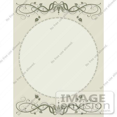 #41537 Clip Art Graphic of a Blank Circle On A Beige And Green Vine Background by Maria Bell