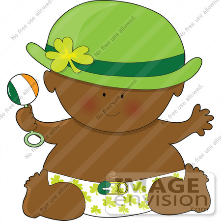 #41634 Clip Art Graphic of an African American St Patrick's Day Baby by Maria Bell
