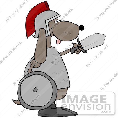 #41644 Clip Art Graphic of a Brown Pooch Warrior With a Shield and Sword by DJArt