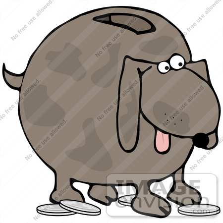 #41645 Clip Art Graphic of a Brown Pooch Coin Bank by DJArt