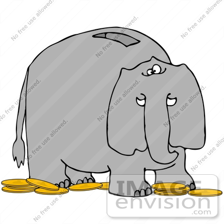 #41660 Clip Art Graphic of a Gray Elephant Coin Bank by DJArt