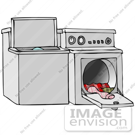 #41672 Clip Art Graphic of Laundry Pouring Out Of A Dryer by DJArt