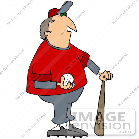 #41678 Clip Art Graphic of a Baseball Coach With A Ball And Bat by DJArt