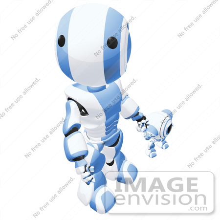 #42186 Clip Art Graphic of a Blue Futuristic Robot Holding Hands With A Cam, Looking Up by Jester Arts