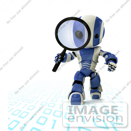 #42193 Clip Art Graphic of a Blue Futuristic Robot Researching Binary Code by Jester Arts