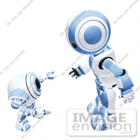 #42202 Clip Art Graphic of a Blue Futuristic Robot And Cam Talking by Jester Arts