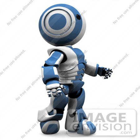 Clipart Illustration Of A Blue Futuristic Robot Walking