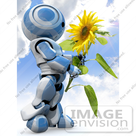 #42205 Clip Art Graphic of a Blue Futuristic Robot Admiring A Sunflower by Jester Arts