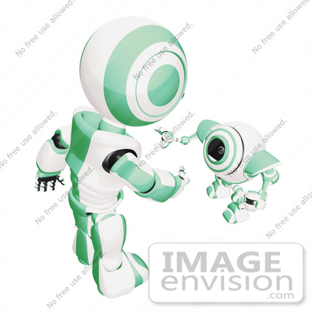 #42210 Clip Art Graphic of a Green Futuristic Robot Reaching Down To Greet A Cam by Jester Arts