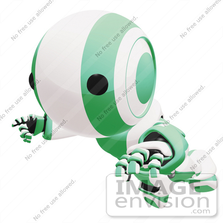 #42211 Clip Art Graphic of a Green Futuristic Robot Floating by Jester Arts