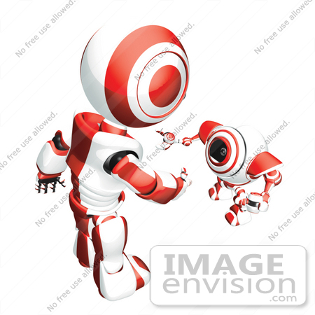 #42219 Clip Art Graphic of a Red Futuristic Robot Reaching Down To Greet A Cam by Jester Arts