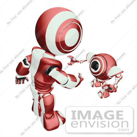 #42222 Clip Art Graphic of a Red Futuristic Robot Talking To A Cam by Jester Arts