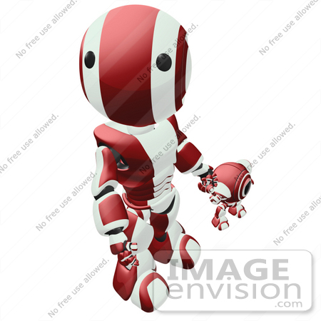 #42232 Clip Art Graphic of a Red Futuristic Robot Looking Up While Holding Hands With A Cam by Jester Arts