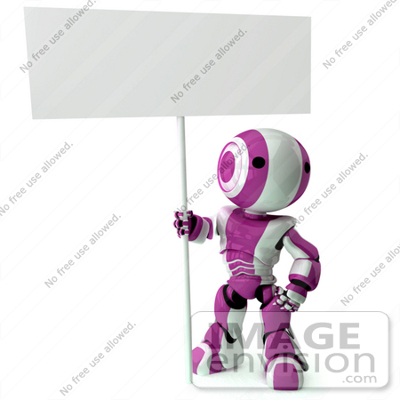 #42234 Clip Art Graphic of a Purple Futuristic Robot Holding A Blank Sign by Jester Arts