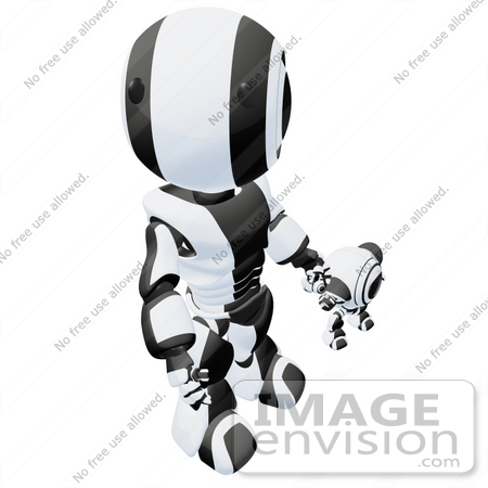 #42242 Clip Art Graphic of a Black Futuristic Robot Looking Up And Holding Hands With A Cam by Jester Arts