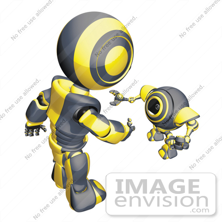 #42256 Clip Art Graphic of a Yellow Futuristic Robot Greeting A Cam by Jester Arts