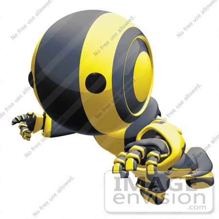 #42257 Clip Art Graphic of a Yellow Futuristic Robot Floating by Jester Arts