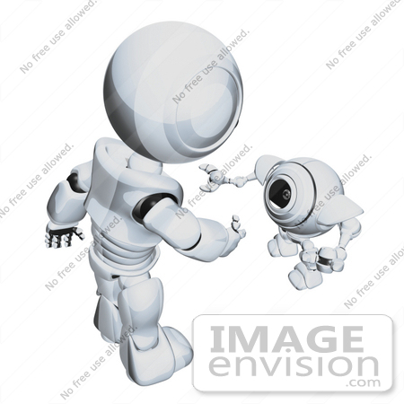 #42259 Clip Art Graphic of a Chrome Futuristic Robot Greeting A Cam by Jester Arts