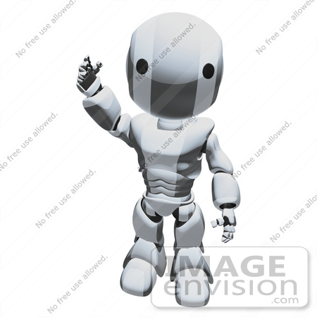 #42260 Clip Art Graphic of a Chrome Futuristic Robot Waving by Jester Arts