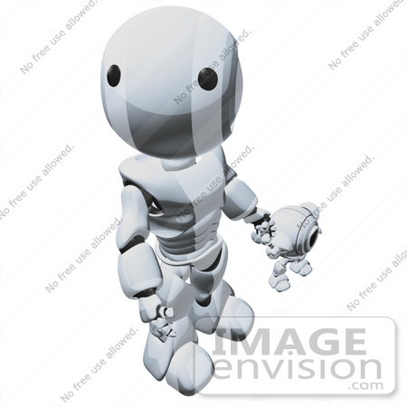 #42262 Clip Art Graphic of a Chrome Futuristic Robot Looking Up And Holding Hands With A Cam by Jester Arts