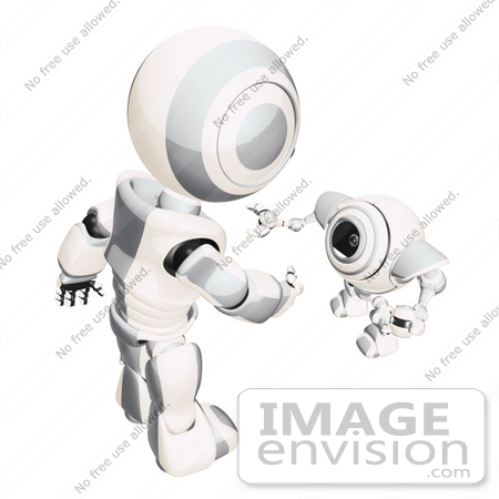 #42265 Clip Art Graphic of a Silver Futuristic Robot Greeting A Cam by Jester Arts
