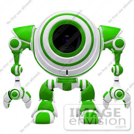 #42270 Clip Art Graphic of a Green Futuristic Cam Facing Front by Jester Arts
