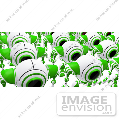#42274 Clip Art Graphic of Marching Green Cams by Jester Arts