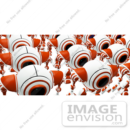 #42275 Clip Art Graphic of Marching Red Cams by Jester Arts