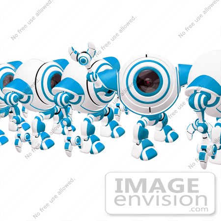 #42278 Clip Art Graphic of a Friendly Blue Cam Waving In Line by Jester Arts