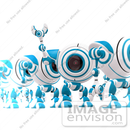 #42281 Clip Art Graphic of a Waving Blue Cam Standing In A Line by Jester Arts