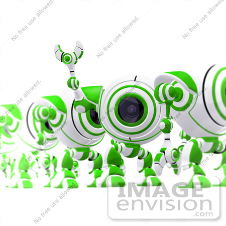 #42295 Clip Art Graphic of a Happy Green Cam Waving To Someone by Jester Arts