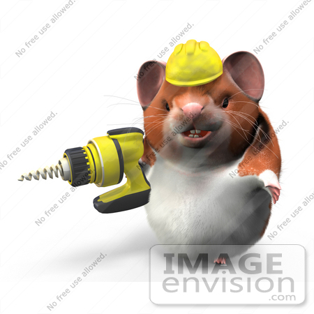 #42303 Clip Art Graphic of a Worker 3d Hamster by Jester Arts